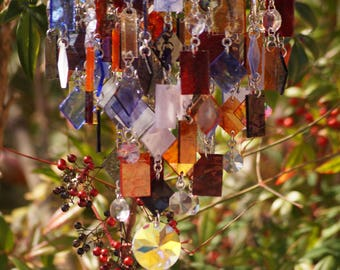 Unique Wind Chimes - Suncatcher - OOAK Gift For Her, Anniversary, Birthday, Wedding, Housewarming, Islande coucher de soleil
