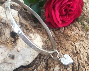 Rustic hammered hand carved and cast Heart Stacker Sterling Silver Bangle Bracelet, rustic, metalwork, handmade, Boho, Bohemian, Gypsy