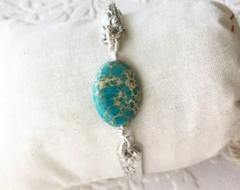 Turquoise stone spoon handle bracelet