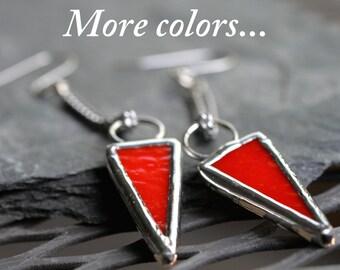 arrow earrings modern orange festival earrings minimalist earrings colorful earrings long chain earrings stained glass ARROW EARRINGS