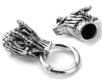Silver End Caps and Clasp 10mm Kumihimo or Viking Knit Dragon Head End Cords with Spring Ring Clasp