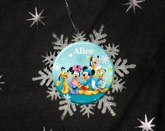 """Personalized Snowflake Disney Mickey Mouse Clubhouse Holiday Image Christmas 2.25"""" Ornament"""
