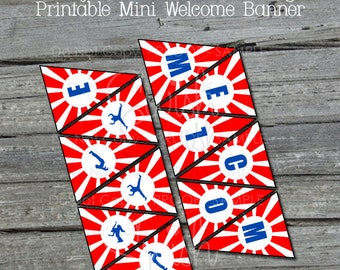 Ninja Welcome Banner |  Mini Bunting | Small Welcome Sign | Gymnastic Parkour | Red White Blue | Instant Download