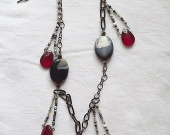Red and Black chain necklace with pendant