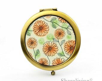 1pcs Chrysanthemum Compact Mirror, Koala Pocket Mirror, Antique Bronze Silver Gold Makeup Mirror - HPM017P