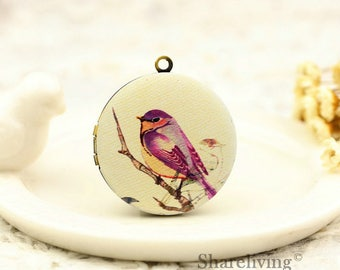 1pcs Vintage Purple Birds Necklace, Retro Bronze Brass Bird Locket Charm Pendant 32mm 25mm 20mm Locket - HLK145D