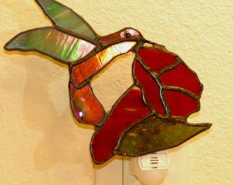Magnificent Hummingbird Stained Glass Night Light Suncatcher hand made.
