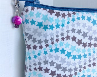 Teal Stars Notions bag with progress keeper, Notions pouch Knitting notions bag, Gifts for knitters small zipper bag, knitting supplies