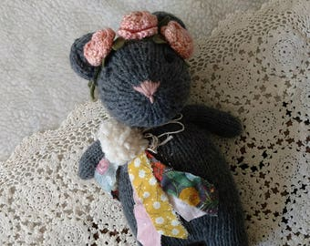 Charcoal Knitted Bear