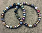 2 Indian Agate and Unakite Stretch Bracelets