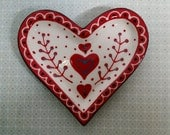 Ceramic Heart Dish Sweetheart Valentines Day hand painted by Sharon Bloom