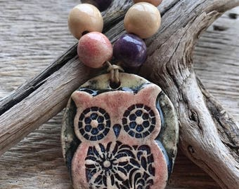 OWL - Rustic Owl Pendant with 6 Coordinating Handmade Ceramic Beads