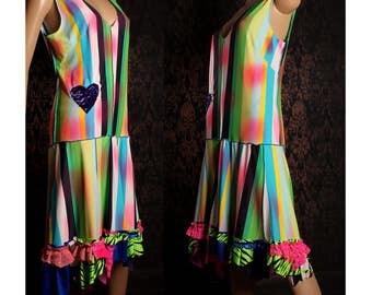 Circus Clown Dress, Festival Fashion, stipe dress, painted polka dot dress, tattered ruffle, shabby chic, Carnival Flapper, loose fit, long