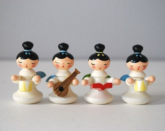 Wood Angel Figurines, Italy Sevi Angel Band, Christmas Decorations, Miniature Hand Painted Wood, Vintage Angels, Musical Instruments