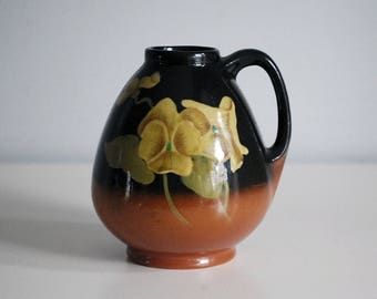 Redwood Pottery Vase, 1920s Fine Art Ceramic Pitcher, Antique Art Pottery, Yellow Pansy Flower, Dark Brown, Arts Crafts Decor, Hand Painted