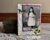 Vintage Violets Birthday card,handmade card,collage card,