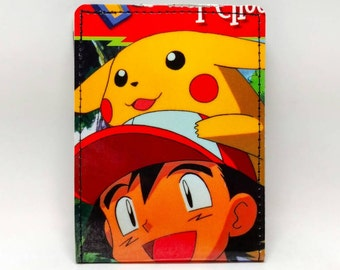 Sewn Comic Book Wallet - Pokemon Handbook Wallet - Ash and Pikachu