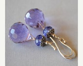 HOLIDAY CLEARANCE Angelica Crystal Drop Earrings by Happy Shack Designs - Purple Crystal Briolette Earrings