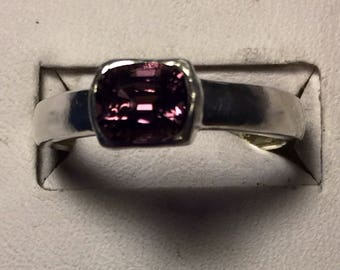 Rose pink spinel silver ring