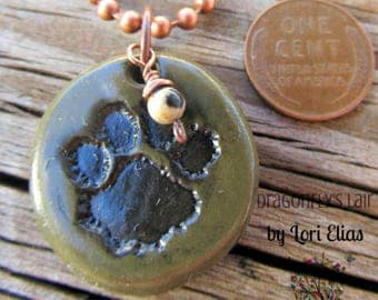 Pawprint Polymer Clay Pendant on Copper Chain