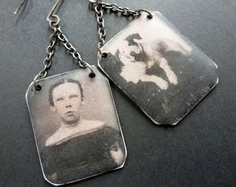 a girl and her dog ~ tintype style portrait earrings ~ resin art ~ OOAK ~ vintage shabby victorian