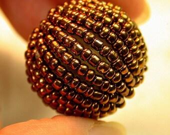 VINTAGE JAPANESE Lucite COPPER  Bead  Metallic 24.5mm pkg1 res131