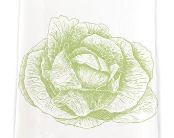 Green Cabbage Flour Sack Kitchen Towel