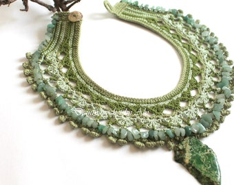 Boho necklace crocheted lace