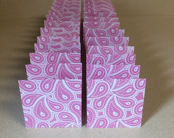 Mini Cards 24 pink paisley - blank for thank you notes 3 x 3