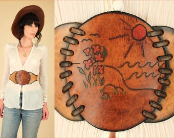 ViNtAgE 60's 70's Corseted Hand Tooled Leather HiPPiE Belt // Boho HiPPiE Bohemian // os