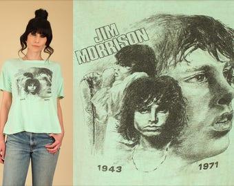 Jim Morrison T-Shirt the DOORS ViNtAgE 70's THREADBARE 1971 Super RARE Rock Tee Black Lizard King Graphic Soft Thin xl