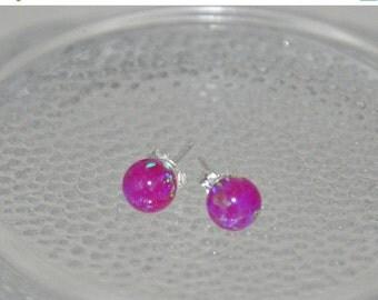 SALE 6mm Ball Stud Post earrings, Purple Earrings,Opal Earrings, Sterling Silver Earrings,  Purple opals, Australian Opal, 925 Sterling Silv