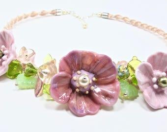 Pink Flower Green Leaves Necklace Lampwork Jewelry Bib Necklace Glass Flower Necklace Macrame Jewelry Gift for Mom Statement Flower Necklace
