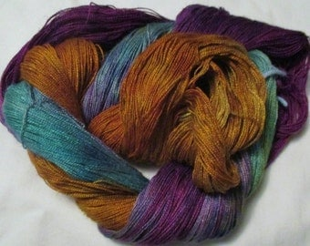 Hand Painted 8/2 Rayon Linen Lace wt. Yarn - MOONLIGHT BAY - 840 yds.
