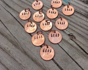Graduation 2017 Grad penny copper charms metal work just plain Jane designer fun fresh Totally Hammered