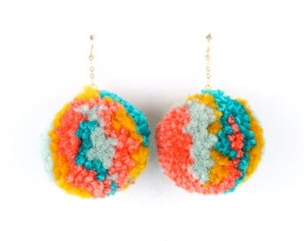 Pom Pom Earrings - Multi Color Turquoise, Yellow, and Coral Yarn Pom Pom Earrings with Gold Ear Hooks