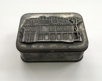Vintage Metal Tin with Cast Pewter Relief of House on Hinged Lid
