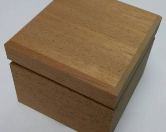 Wood Ring Box with Square Recess - Ready to Finish