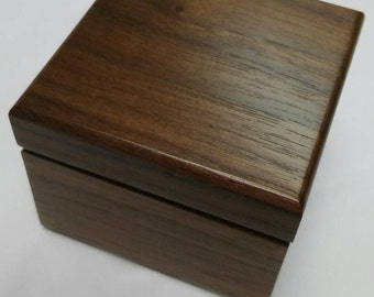 Wood Ring Box with Walnut Finish and Round Recess