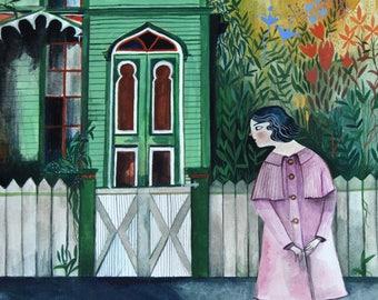 Crooked green house - Fine art print