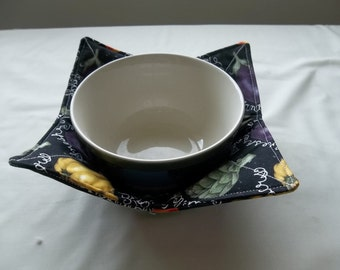 Microwave Bowl Cozy Quilted or Hot Pad Mixed Vegetables With White Wrighting on a Black Background All Cotton Fabric and Thread