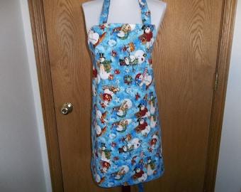 Snowman Apron, Women's Full Apron, Reversible Apron, Apron with Pockets, Chef Apron, Novelty Apron, Kitchen Apron, hostess Apron Gift