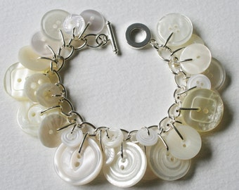 Button Bracelet Pearly White and Creams