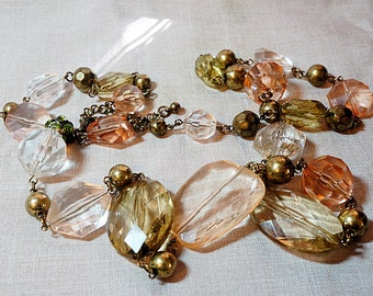 Long 36 inch Lucite Bead Ladies Necklace, Muted Colors of Citrine, Green, Pink and Clear Translucent
