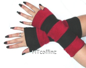LAST CHANCE CLOSEOUT Red Black Fleece Arm Warmers Gloves Striped MTCoffinz - Ready to Ship