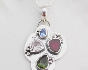 Earth Day Sale Watermelon Tourmaline, Moldavite, Herkimer Diamond, Tanzanite, Art Jewelry, Multi-stone Pendant, Heady Pendant, Sterling Silv