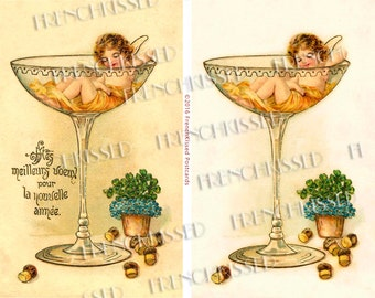 Sleeping Cupid Angel Fairy in a Champagne Glass Rare French New Year Postcard Digital Scans Two Versions