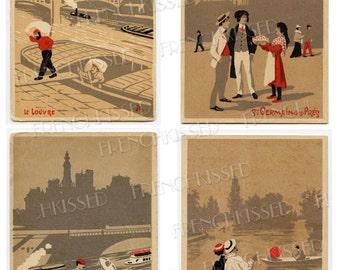 4 Paris Iconic Landmarks Tri Color Series Set 1 Antique French Postcards Digital Printables
