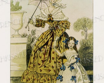 Elegance Paris Mode Fashion Series 1837 Mother and Daughter Antique Postcard Instant Download