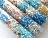 Sea and Sand Seed Bead Project Mix, One Tube, Blue, White, Cream, Beige, Loose Beads for Crafting, Embroidery Beads, Assorted Beads